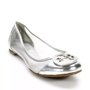 Tory Burch Reva Audrey Clear and Silver Logo Flats
